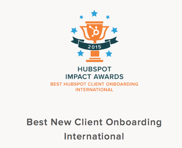 HubSpot Impact Awards - Best New Client Onboarding 2015 - Hook Digital